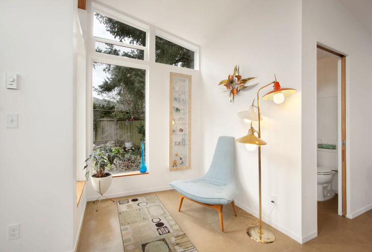 Reading nook in a Seattle backyard studio