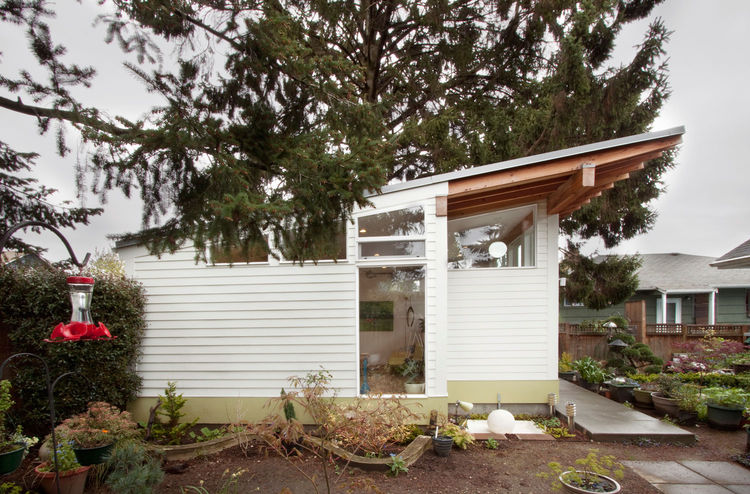 Douglas fir exterior of a Seattle backyard studio