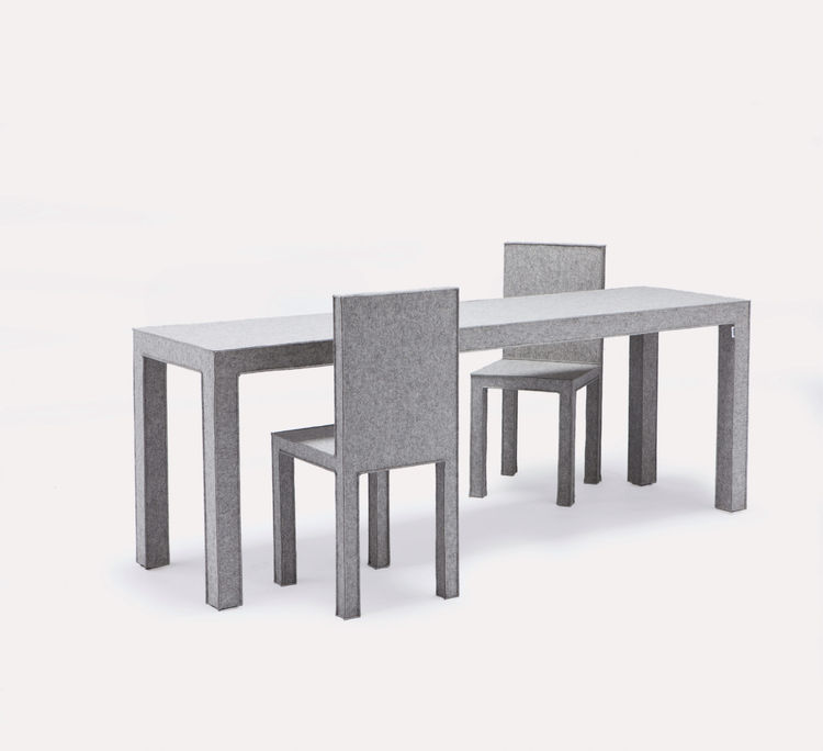 A felt dining room set by by Delphine and Reed Krakoff for Established & Sons