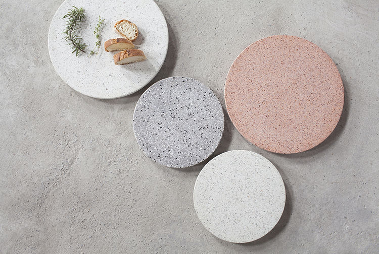 Colorful series of terrazzo stone platters