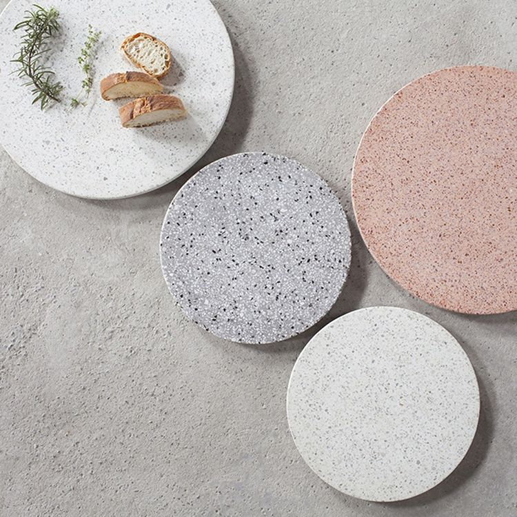 Terrazzo platter in distinct colors