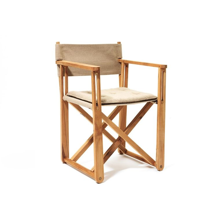 Teak and canvas outdoor folding chair