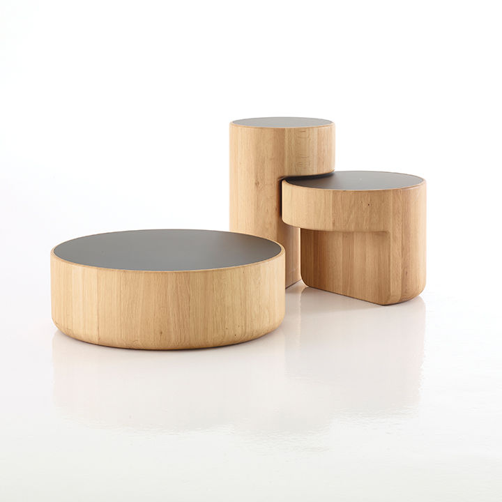 Levels tables by Lucie Koldova and Dan Yeffet for Per/Use made of oak and glass