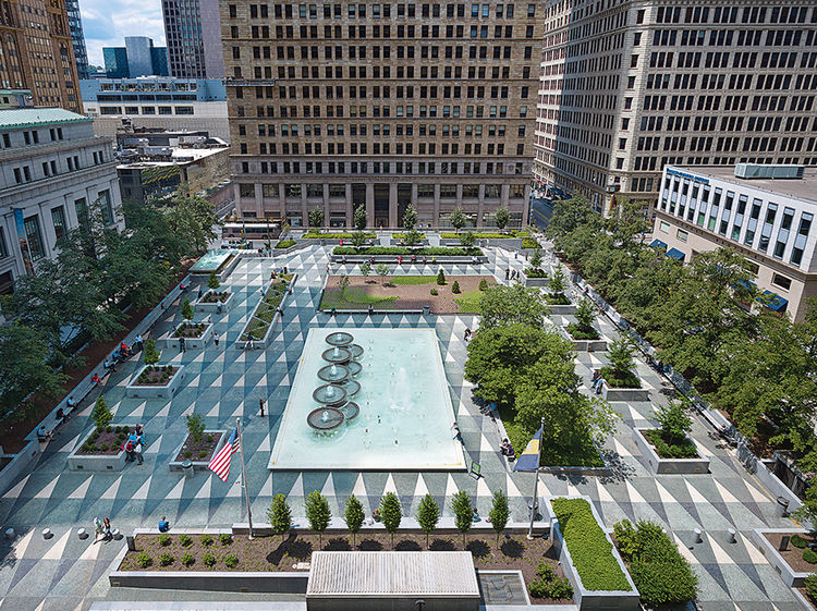 Pittsburgh public space Mellon Square renovation present day
