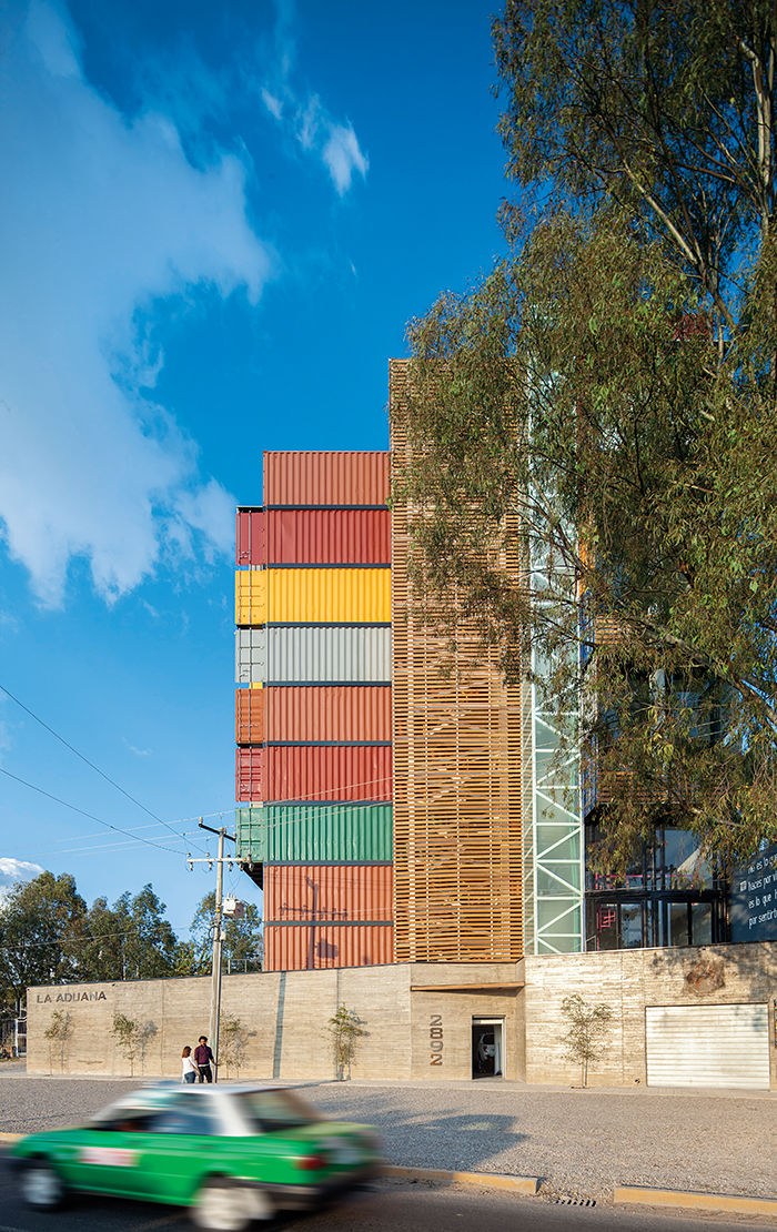 Prefab housing unit in Mexico made of shipping containers and concrete