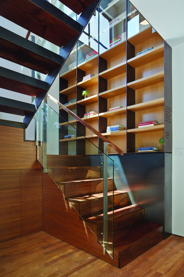 Black walnut stairs of San Francisco renovation and addition by Zack | de Vito Architecture + Construction.