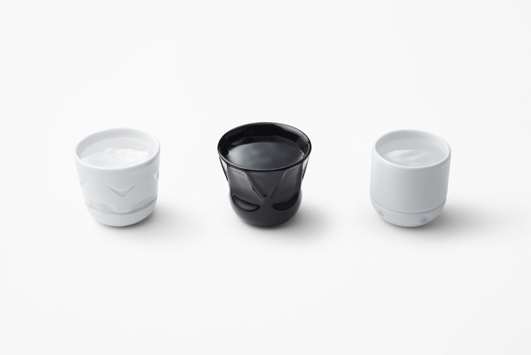 Stormtrooper, Darth Vader, and R2D2 cups by Nendo