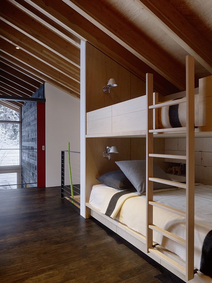 Bunk beds in a modern ski home in British Columbia