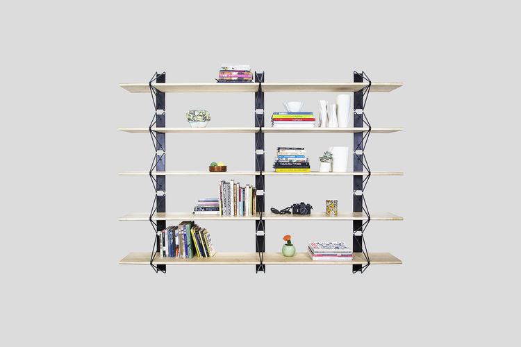 Inspired shelving system in maple and powder-coated steel