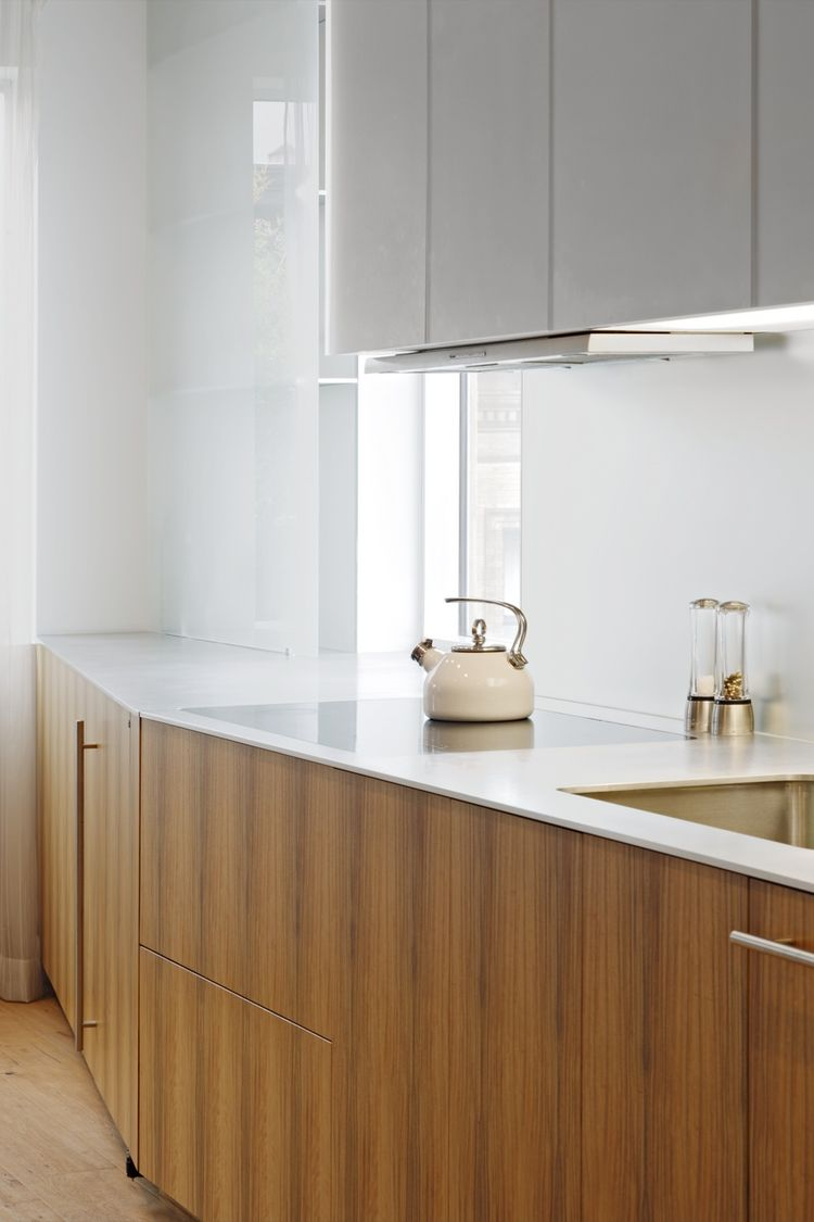 Aluminum kitchen countertop with an electric cooktop