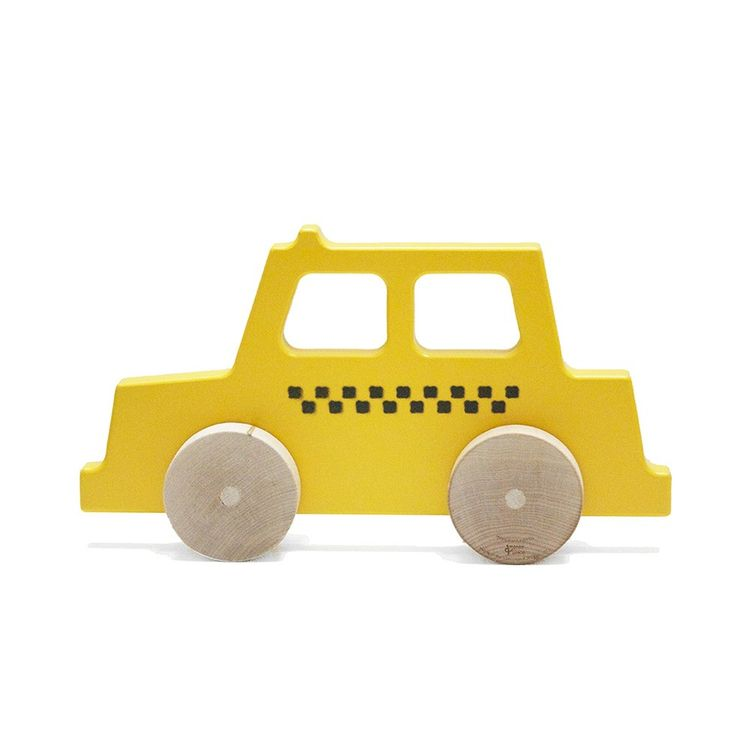 Children's push toy styled like a New York City taxi