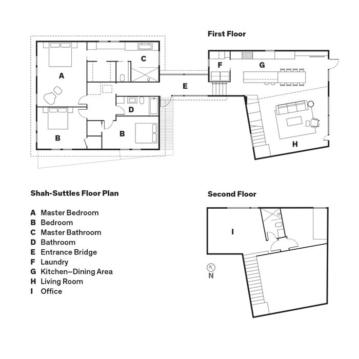 Modern Texan addition and renovation floor plans