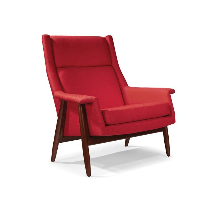 Midcentury modern red lounge chair with walnut frame