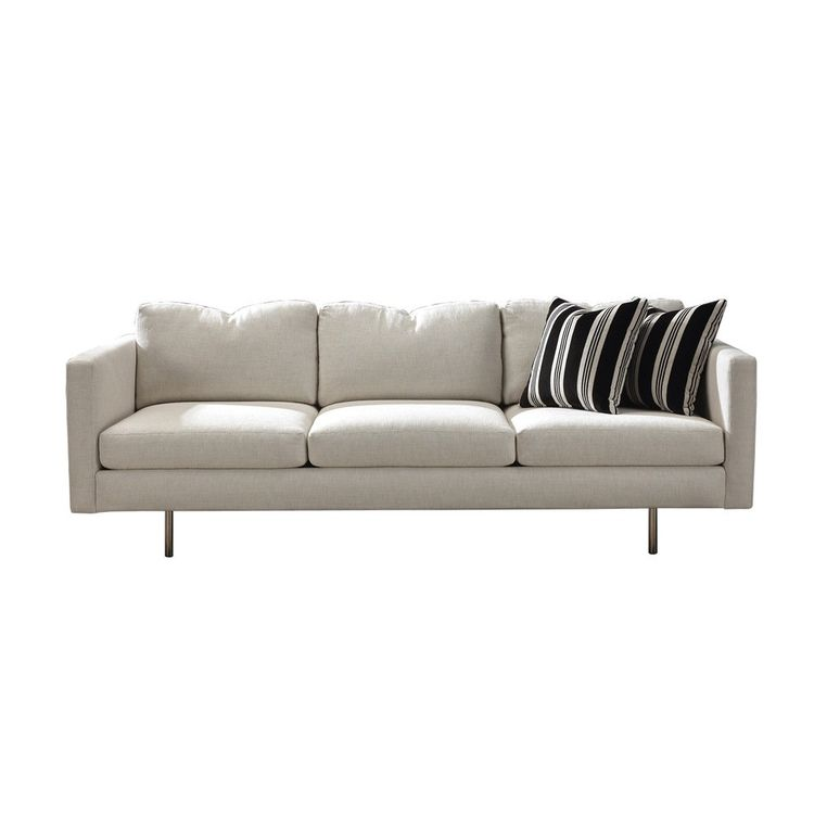 Streamlined midcentury modern sofa with stainless steel legs
