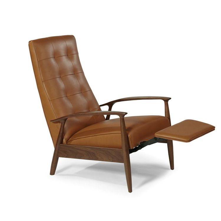Sophisticated and streamlined midcentury leather recliner