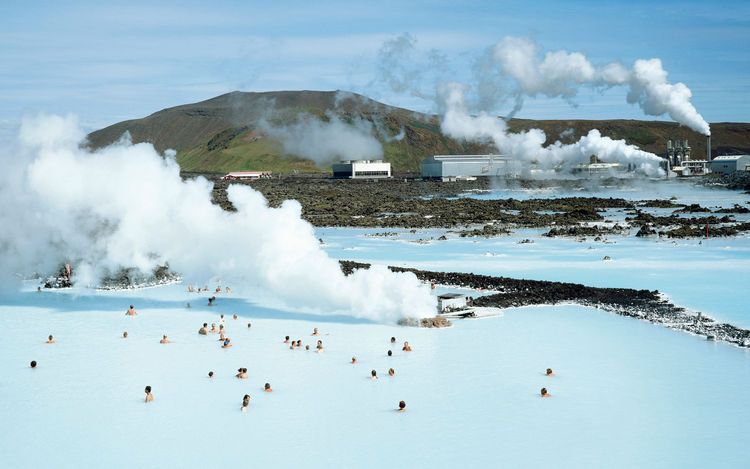 Visitors at the Iceland blue lagoon geothermal spa and hotel.