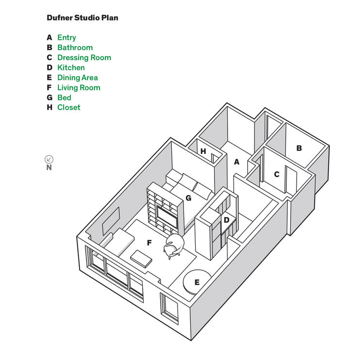 Small modern New York City studio floor plans