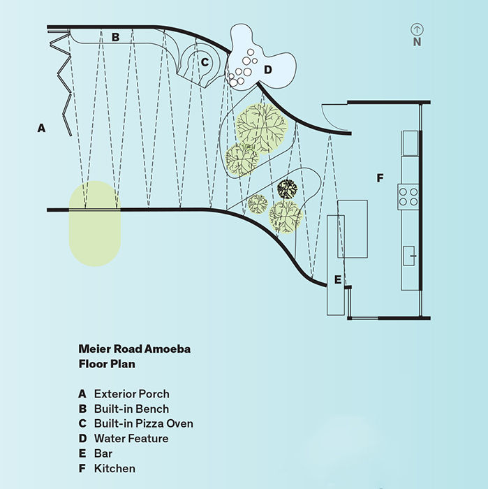 Modern indoor-outdoor concrete dining pavilion floor plans