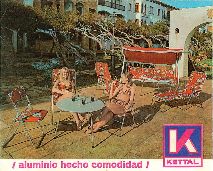 Vintage Kettal advertisement for folded aluminum furniture