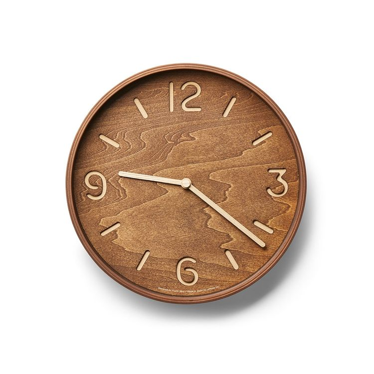 Wall clock made of walnut and birch plywood
