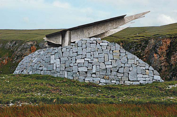 Catholic University Professor Travis Price Spirit of Place program, steel and stone tribute to Children of Lir, Ireland