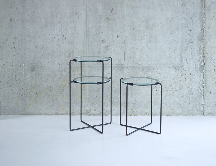Jasper Morrison's iron and glass side and occasional tables