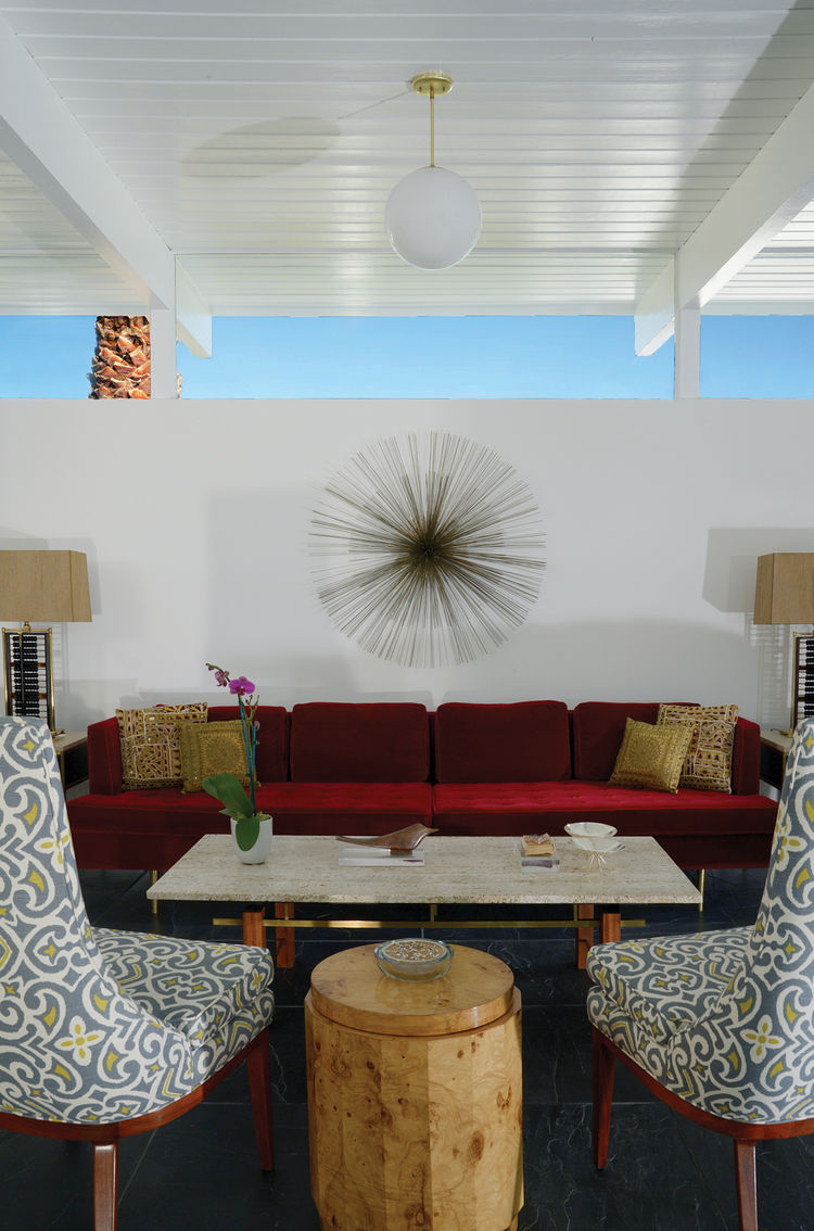 Living room of 1956 Palm Springs modernist home.