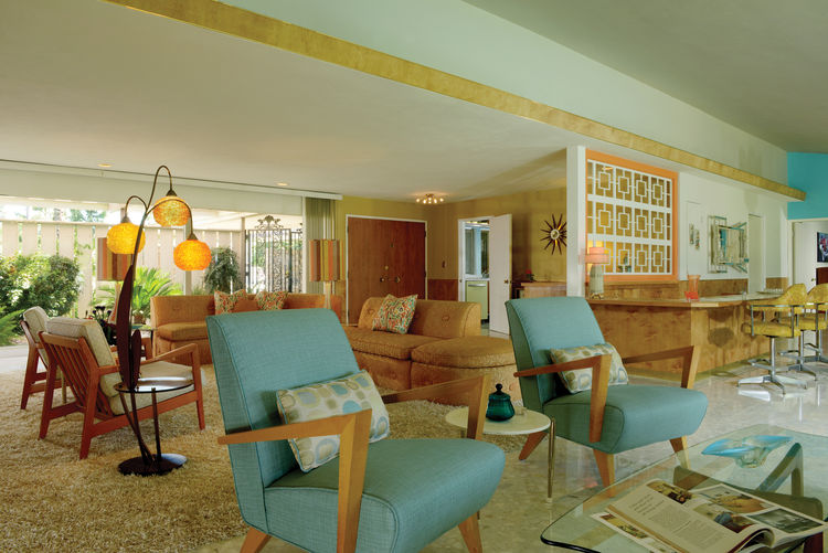 1955 restored Palm Springs modernist living room.