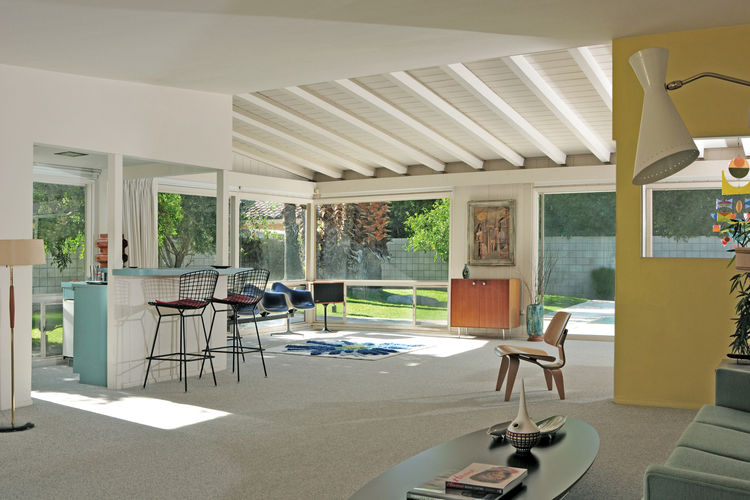 Living room of 1956 modern home.