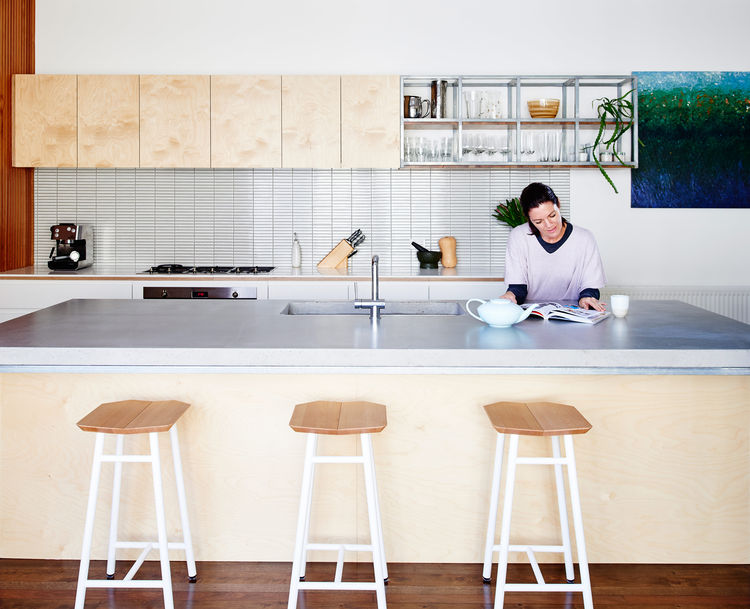 Poured-in-place concrete countertop in a renovated Melbourne kitchen