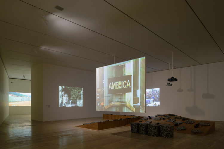 Video viewing gallery at Museo Jumex, exhibition design by Frida Escobedo