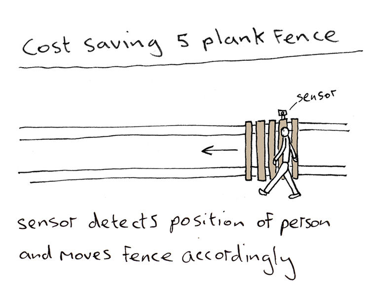 British artist and designer Dominic Wilcox illustrates smart tech 5 plank fence