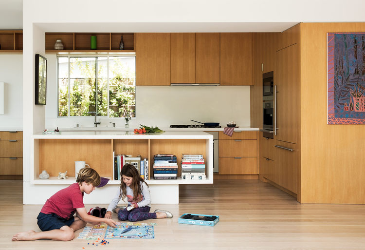 The family kitchen of a venice bungalow.