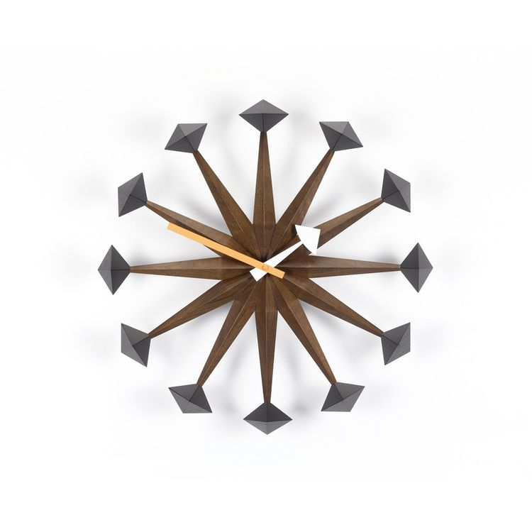 Sculptural midcentury wall clock in walnut wood
