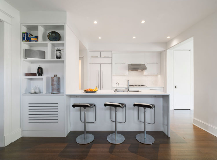 All-white kitchen in DC with Caesarstone countertops
