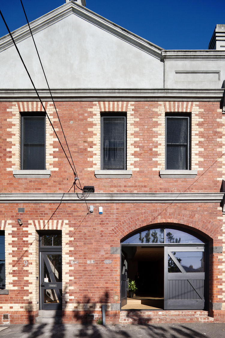 Brick facade of renovated Melbourne warehouse.