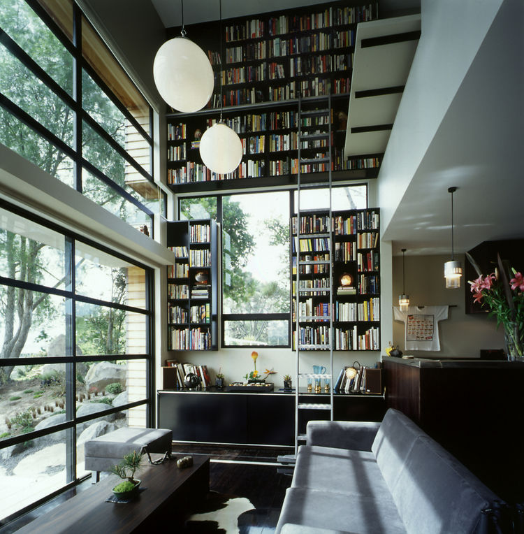 Waterview House Bookcase and Living Area