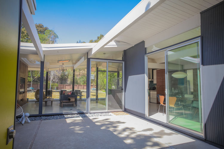 Atrium of a renovated 1959 Eichler home.