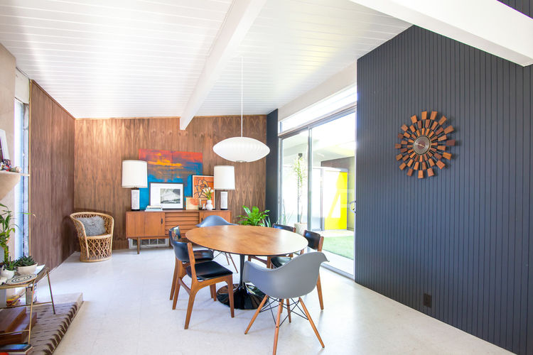 Dining room of a restored 1959 Eichler home.