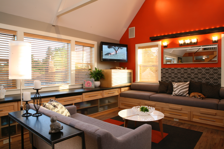 Living room with built-in storage in Seattle.
