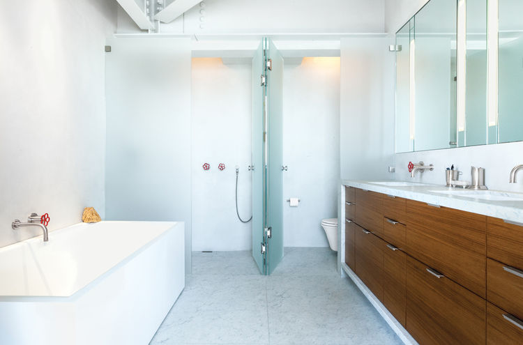 Sleek and clean bathroom by Erica Severns in San Francisco renovation.