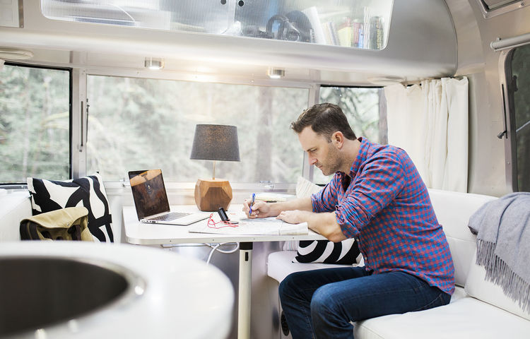 Airstream mobile dwelling interior.