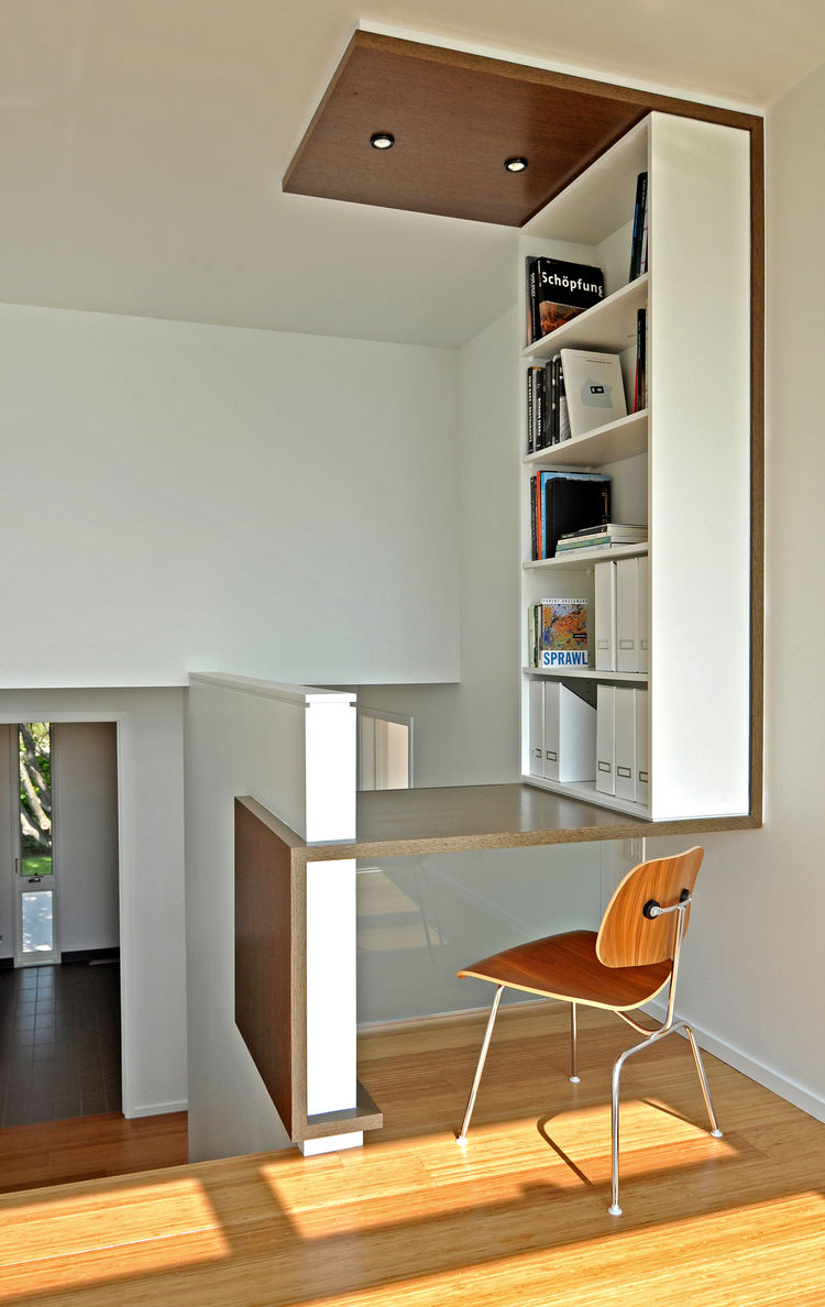 Built-in desk and landing at a LEED Wisconsin home