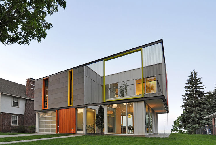 Geometric exterior facade of LEED Wisconsin home