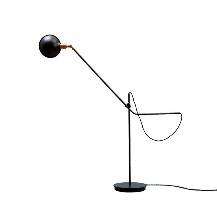 Minimalist floor lamp with adjustable head and stem