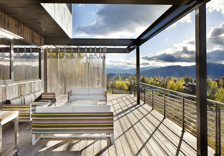 Deck with mesh curtain at Jackson Hole vacation home