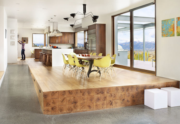 Kitchen and dining room in Jackson Hole vacation home