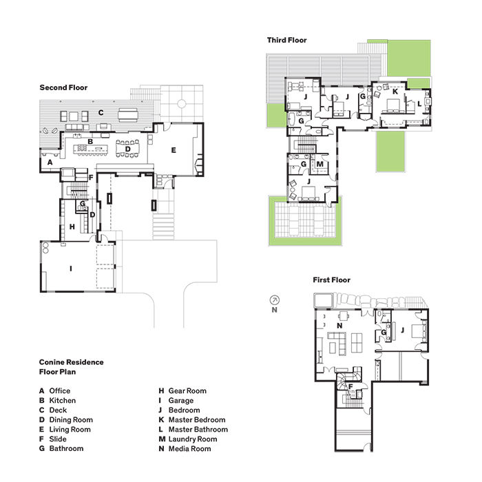Floor plans of the Jackson Hole vacation home