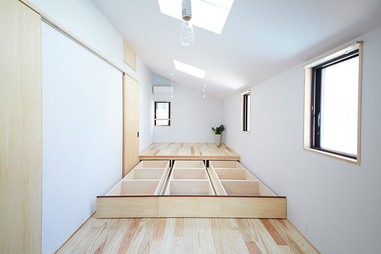 Underfloor storage in Japanese home.