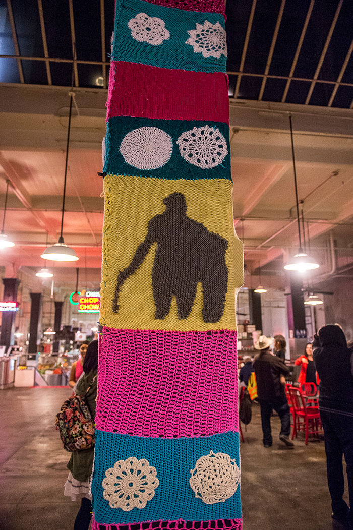 Yarn Bombing Los Angeles created the Yarn-o-polis public art installation at the historic Grand Central Market food hall Downtown